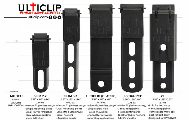 Ulti-Clip Belt Clip Options