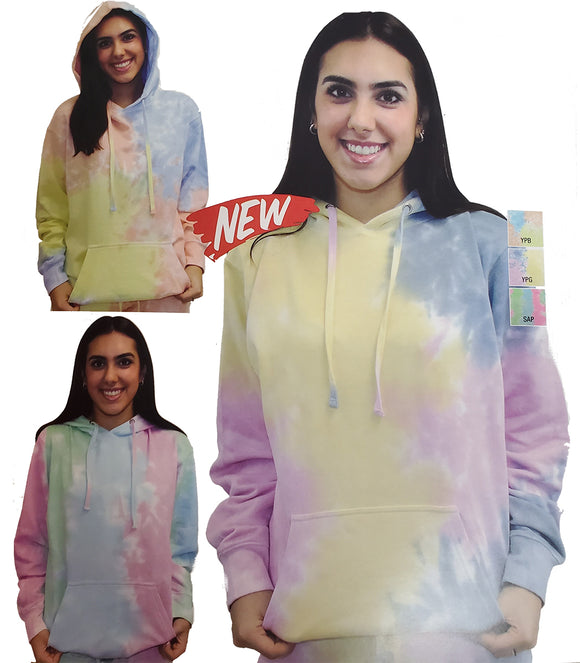 NEW Pastel Color Tie Dye Hoodie Pullover - Unisex Adult