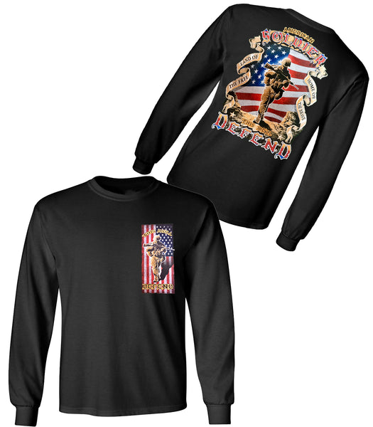 AMERICA SOLDIER LONG SLEEVE UNISEX T SHIRT