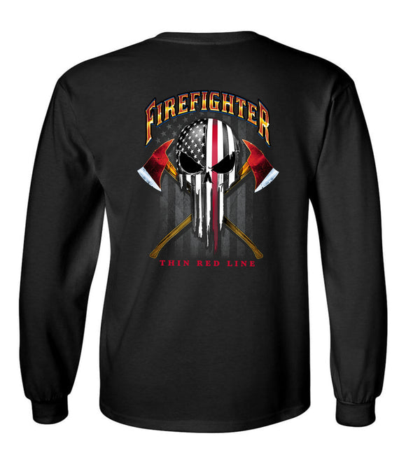 Firefighter Skull, Thin Red Line Unisex Long Sleeve T Shirt