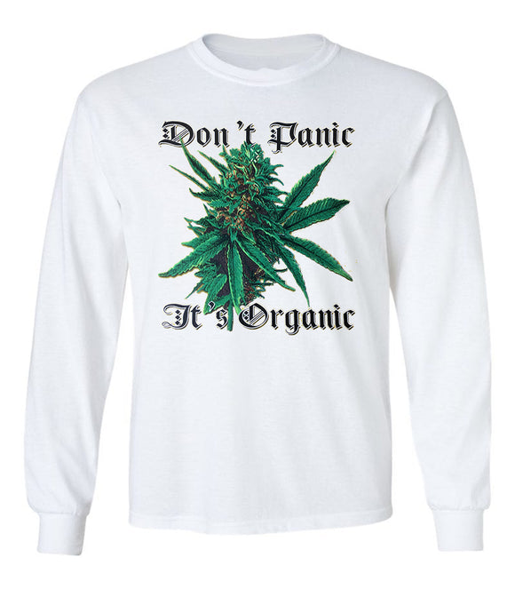 Don't Panic It's Organic Funny Smoking Unisex Long Sleeve T-Shirt