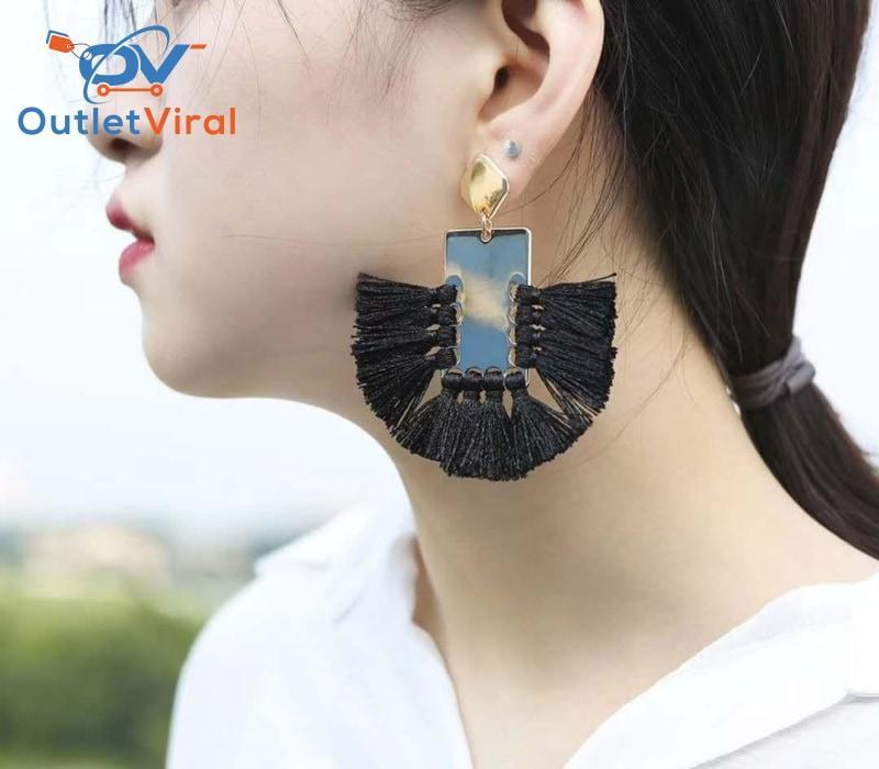 Round Tiny Short Cotton Thread Earrings Black / 1 Set - $21.95