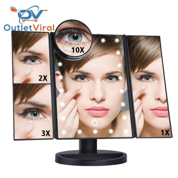 Touchscreen 3-Panel Led Makeup Mirror