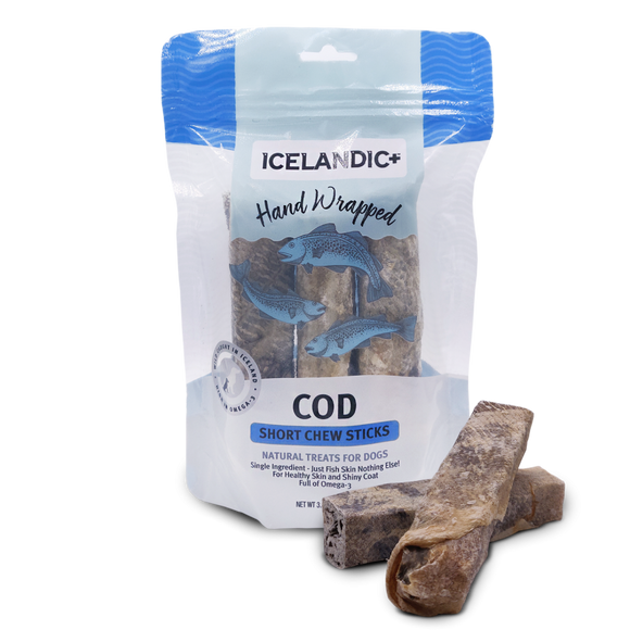 Hand Wrapped 100% Icelandic Cod Skin Chew Sticks
