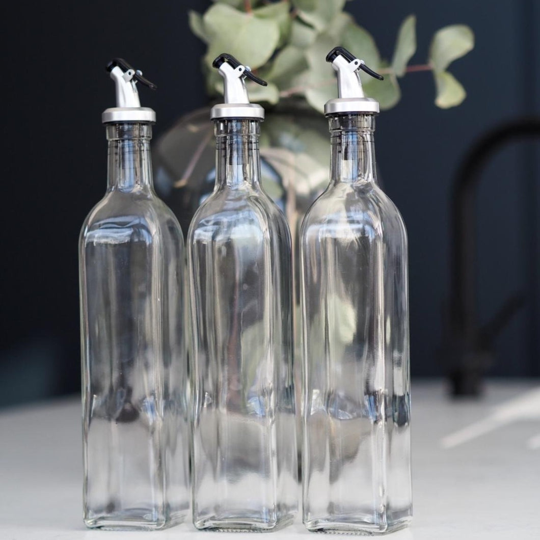 glass oil bottle with pourer