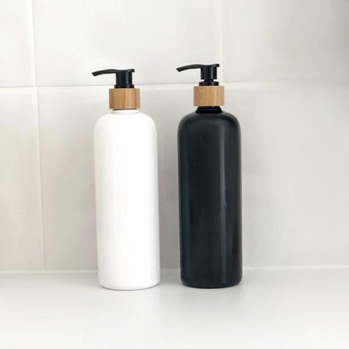 white and black bamboo due bottle