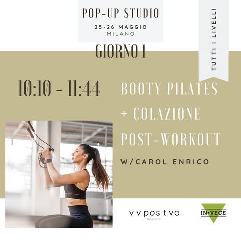 evento 25 maggio Pop-up VIVIPOSITIVO booty pilates con carol enrico in.vece