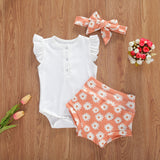 Ruflfle Bodysuit, Daisy Shorts and Headband Set