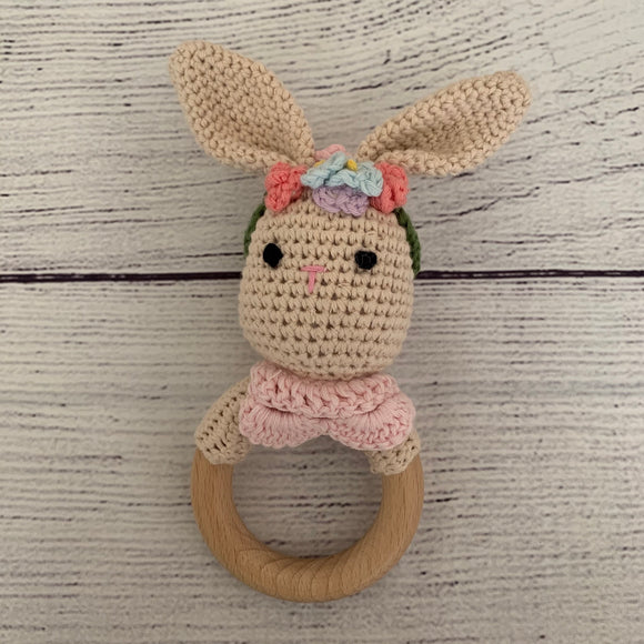Floral Bunny Crochet Rattle