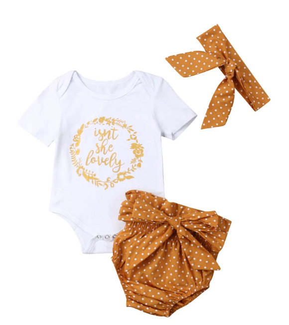 Isn't She Lovely Polka Dot Short & Headband Set