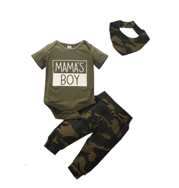 Mama's Boy Bodysuit, Camo Pants and Bib Set