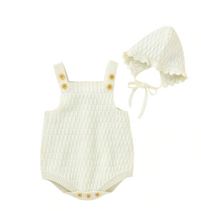 Zoe Knitted Romper & Cap Set