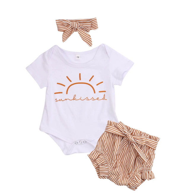 Sunkissed Bodysuit, Shorts & Headband Set