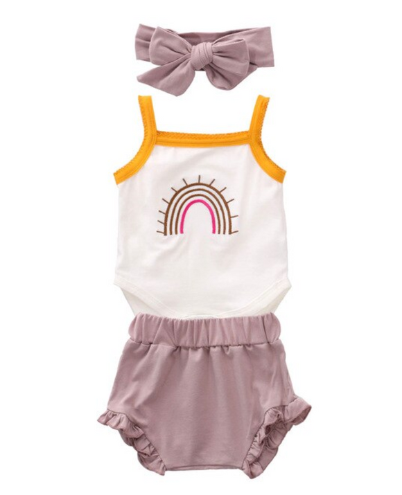 Rainbow Bodysuit, Short and Headband Set