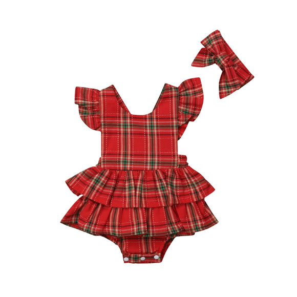 Merry Plaid Romper Set