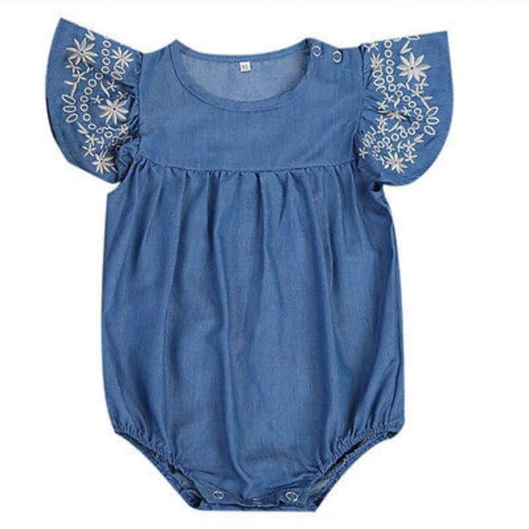Embroidered Denim Playsuit
