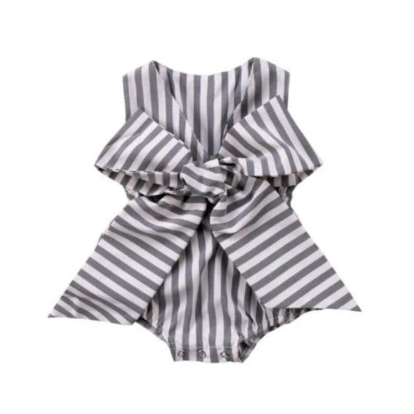Adorable Bow Stripes Playsuit