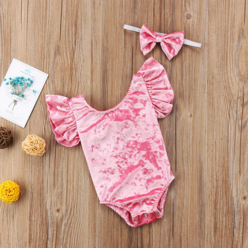 Pink Velvet Bodysuit & Headband Set