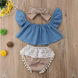 Fly Sleeve Denim Top, Lace Bloomers & Headband Set