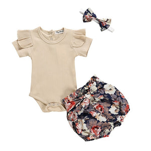 Libia Bodysuit, Floral Bloomers & Headband Set