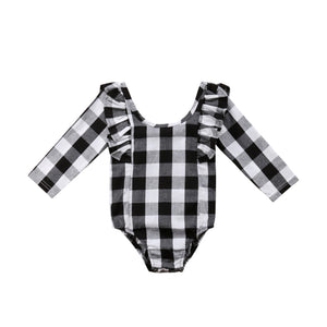 Chloe Plaid Ruffles Long Sleeve Bodysuit