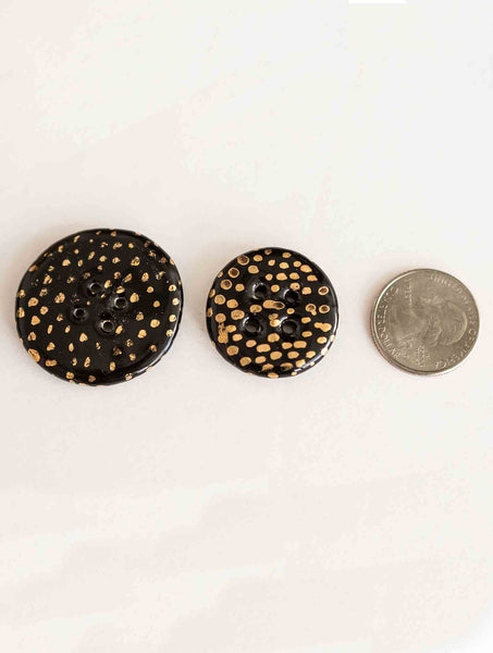 Black & Gold Large Button
