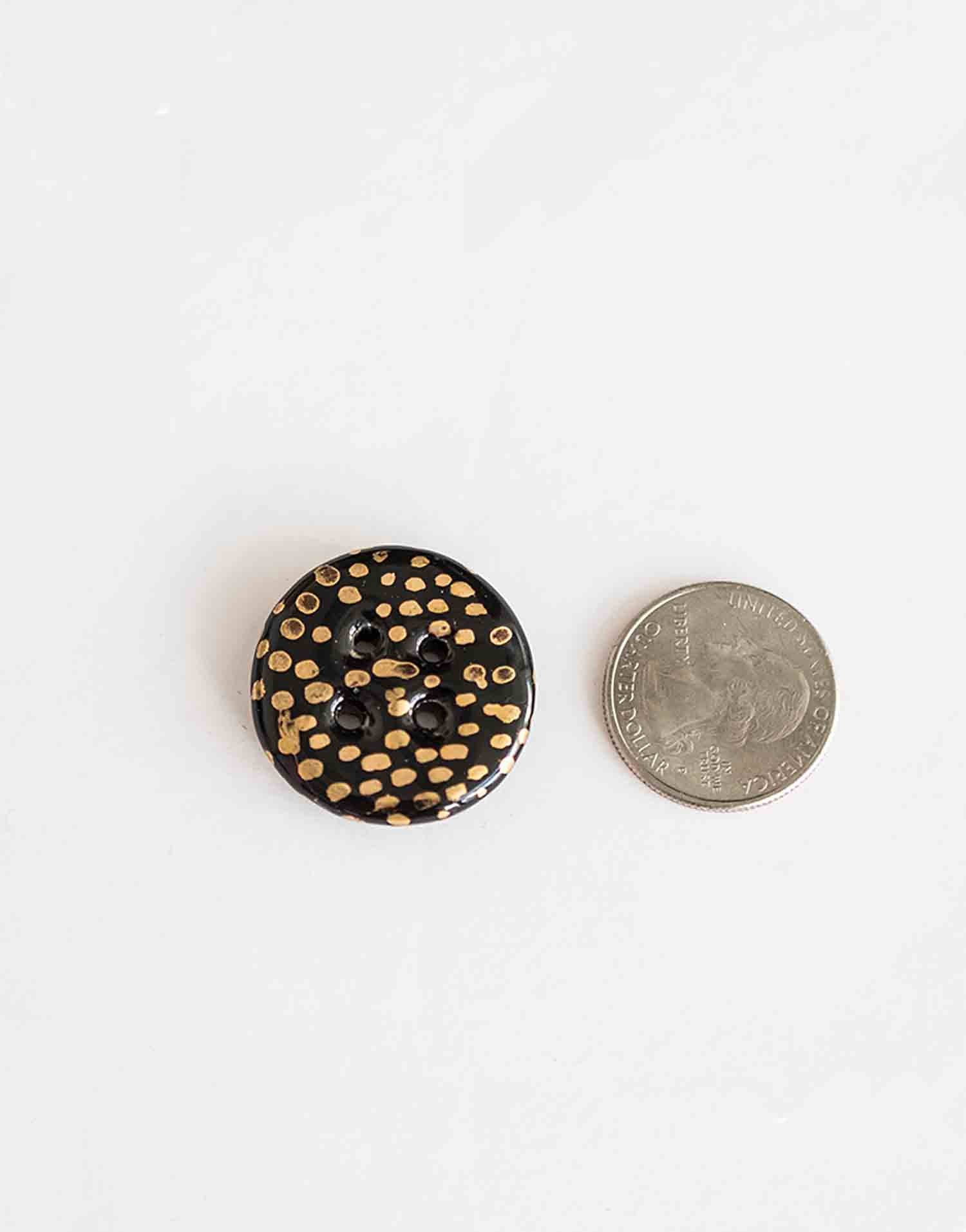 Handmade ceramic buttons: Black & Gold Medium