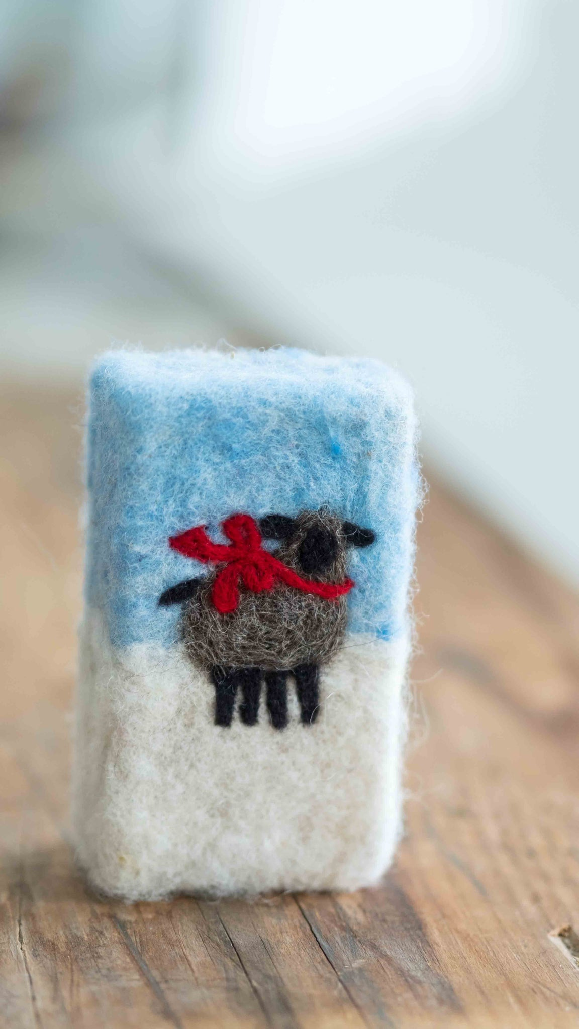 Hand Needle Felted Holiday Sheep Soap