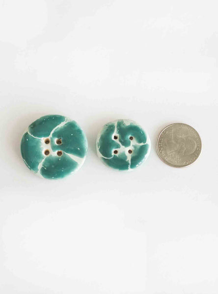 Handmade ceramic button: Giraffe Turquoise & White Medium