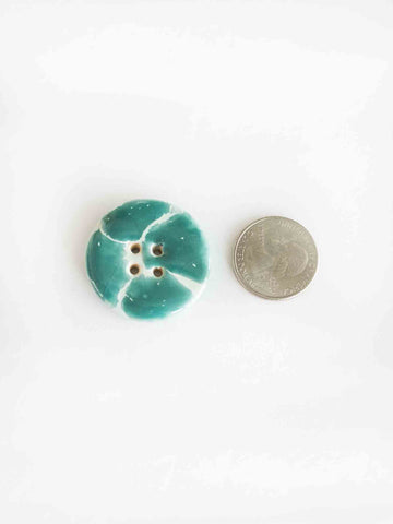 Giraffe Turquoise & White Large Button