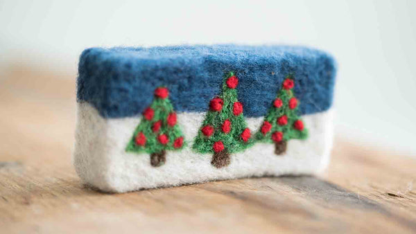 Hand Felted Holiday Tree Soap