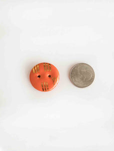 Handmade ceramic buttons: Orange with Gold Stripes medium