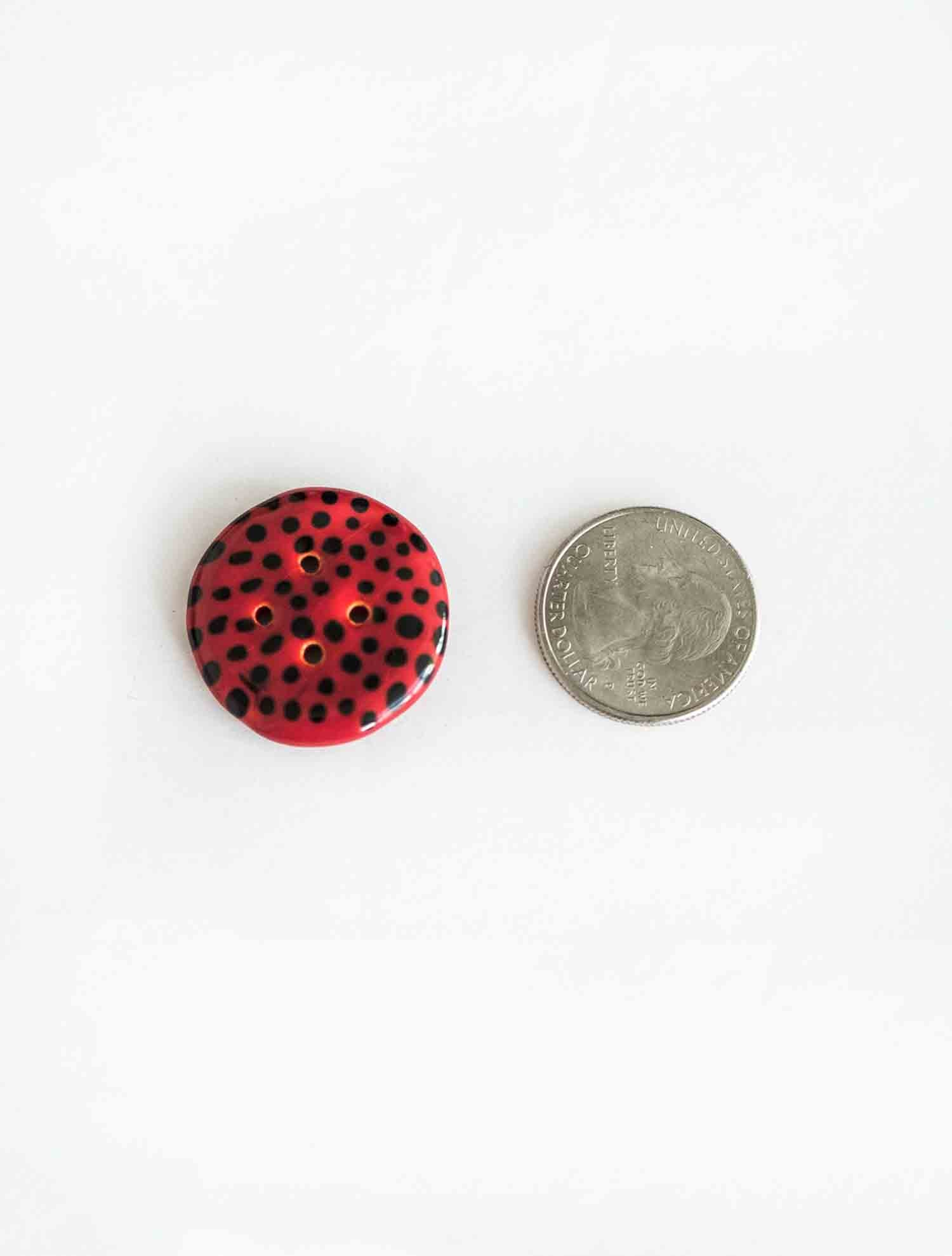 Red with Black polka dots, medium Button