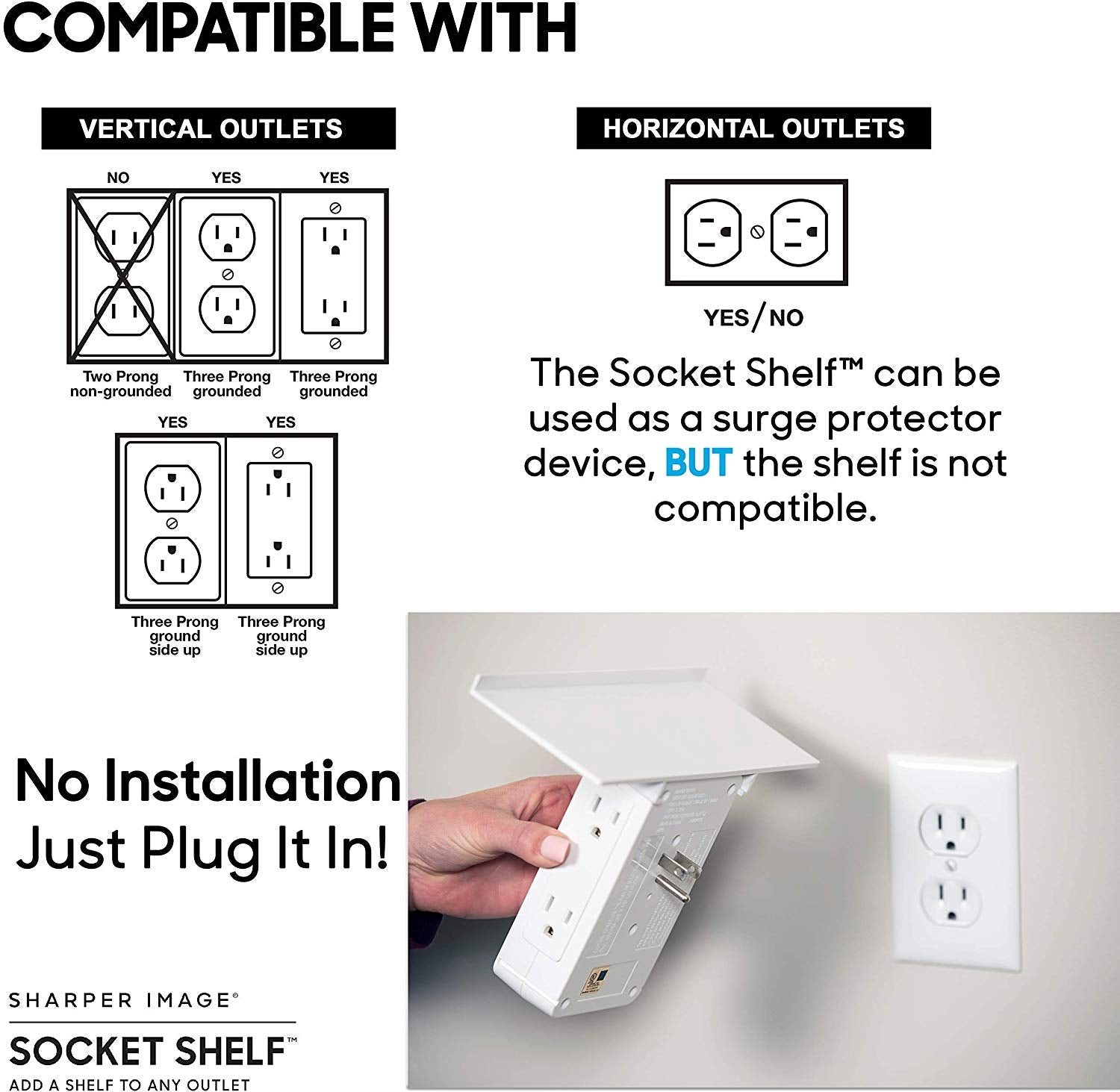 SOCKET SHELF- 8 PORT SURGE PROTECTOR WALL OUTLET & REMOVABLE BUILT-IN SHELF UL LISTED