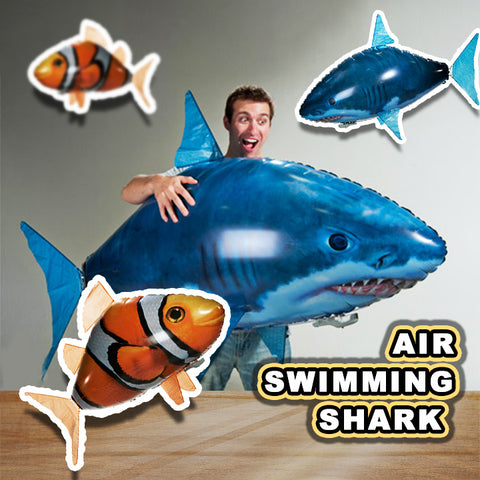 $29.99 & BUY 2 FREE SHIPPING TODAY!- Air Swimmers Remote Control Flying Shark & Clownfish