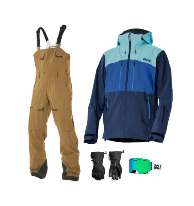 Men's Trewth Bib Full Bundle - Khaki and Blue