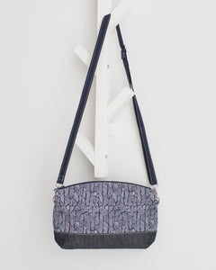 Zipped Round Crossbody Bag - Blue Hatches