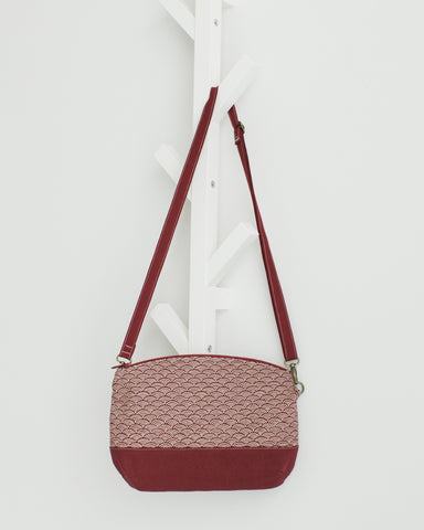 Zipped Crossbody Bag - Japanese Red Waves