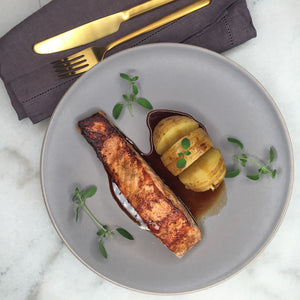 Garlic Salmon & Baked Potatoes