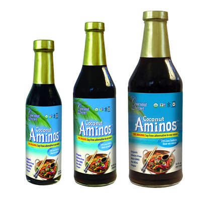 Soy Sauce Alternative Coconut Aminos in three different sizes