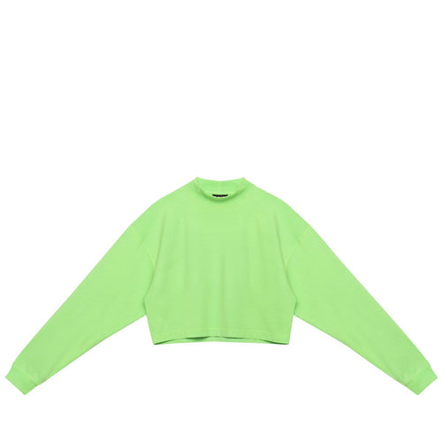 CROP MOCK NECK LS GREEN