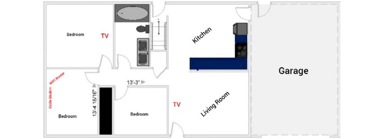 A simple floor plan of the existing environment