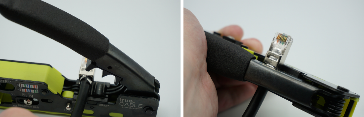 """Use the larger crimp cavity FIRST. This is the """"start"""" cavity. The plug should be latch-side down as shown.  Fully cycle the handle lever to complete the crimp."""