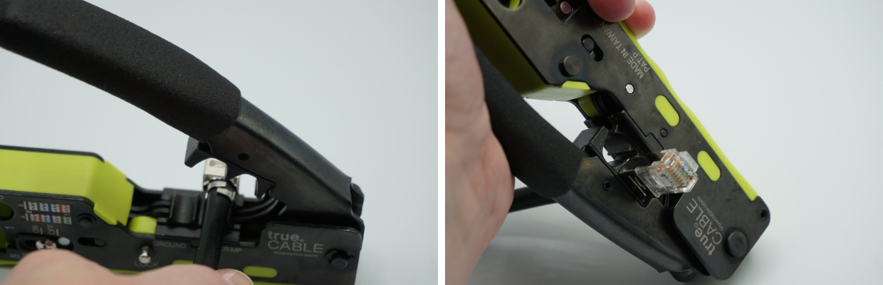 """Now switch to the smaller """"finish"""" cavity. Again, the plug latch-side should be down.  Fully cycle the handle lever to complete the final crimp."""