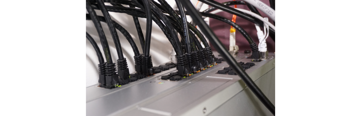 The patch cables connect from the keystone jacks into a network switch…each run gets its own dedicated switch port
