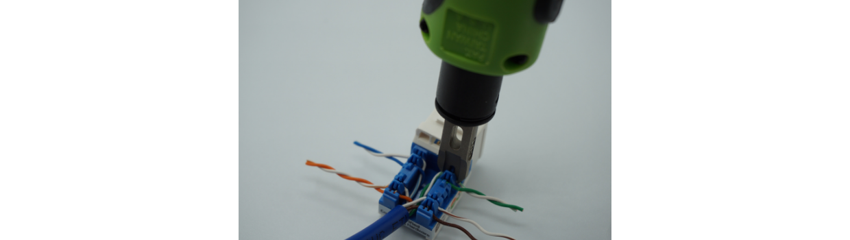 For 110 tool impact punch down, punch all eight wires fully into their IDC slots