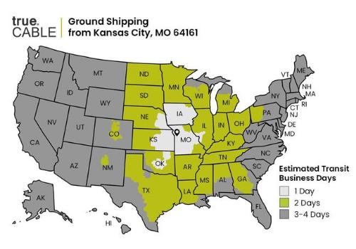 truecable shipping map