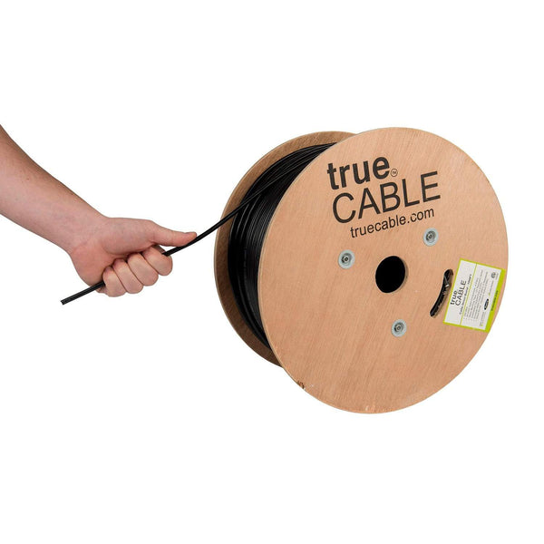 Outdoor Cat5e Cable Black 1000ft trueCABLE Reel Hand Pulling