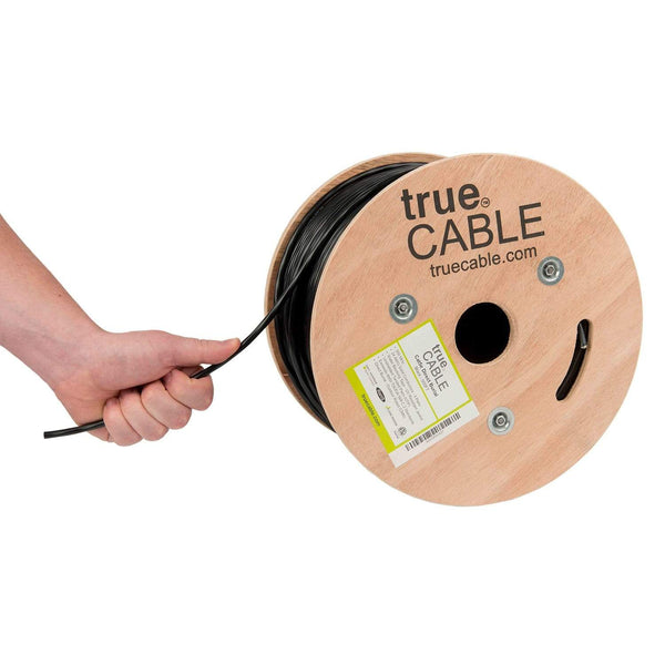 Outdoor Cat5e Cable Black 500ft trueCABLE Reel Hand Pulling