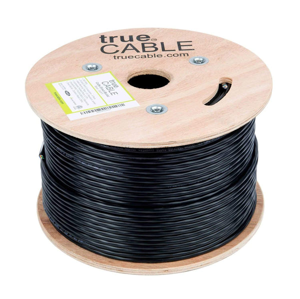 Outdoor Cat5e Cable Black 500ft trueCABLE Reel No wrap